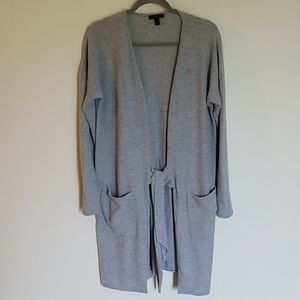J. Crew Soft Gray Tie Front Long Cardigan S